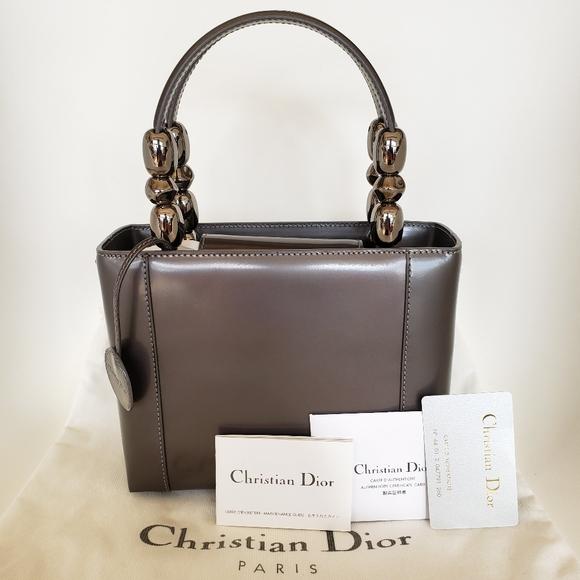 Christian Lady Dior Maris Pearl Grey Leather bag